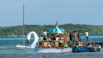 Devotees Circumambulate Deities by Boat During Mauritius Boat Festival