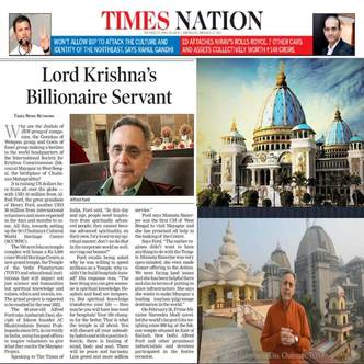 Ambarisa Prabhu on the Cover of the Times of India