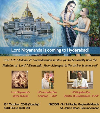 GOOD NEWS for devotees of Twin City: Lord Nityananda is coming to Hyderabad!
