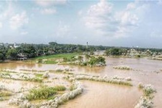Ganga Swells Filling Low Lands Around Mayapur