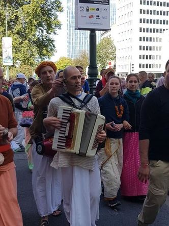 "The devotees from Radhadesh perform Harinama during the big manifestation ""Strike for Climate"" in Brussels (Album of photos)"